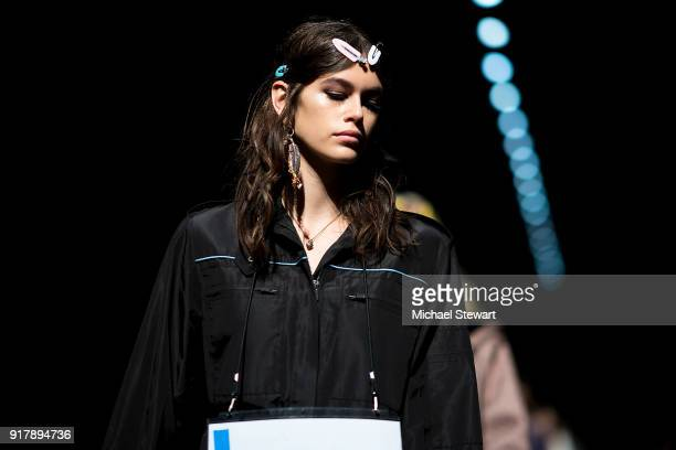 Kaia Gerber prepares before the Coach 1941 fashion show during New York Fashion Week on February 13 2018 in New York City