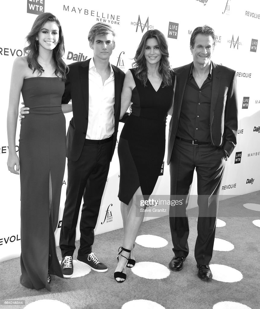 Kaia Gerber, Presley Gerber, Cindy Crawford and Rande Gerber arrives at the Daily Front Row's 3rd Annual Fashion Los Angeles Awards on April 2, 2017 in West Hollywood, California.