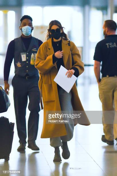 Kaia Gerber seen at JFK airport on May 11, 2021 in New York City.