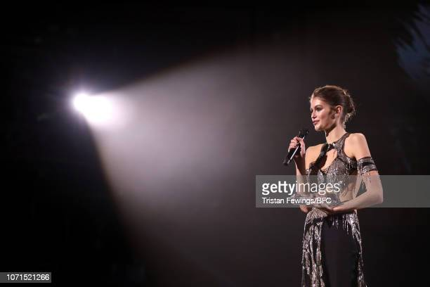 Kaia Gerber speaks on stage after winning Model of the Year during The Fashion Awards 2018 In Partnership With Swarovski at Royal Albert Hall on...