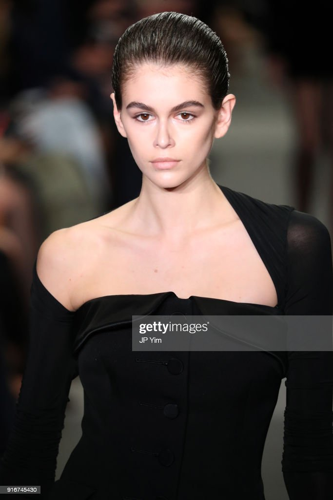 Kaia Gerber walks the runway at Alexander Wang during New York Fashion Week at 4 Times Square on February 10, 2018 in New York City.