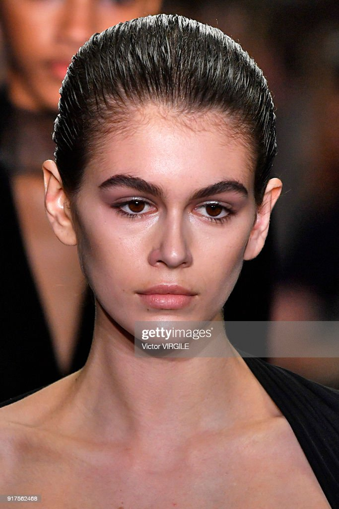 Kaia Gerber walks the runway at Alexander Wang Ready to Wear Fall/Winter 2018-2019 Fashion Show during New York Fashion Week on February 10, 2018 in New York City.
