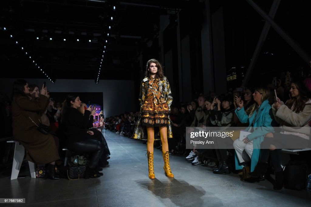 Kaia Gerber walks the runway at Anna Sui - Runway - February 2018 - New York Fashion Week: at Spring Studios on February 12, 2018 in New York City.