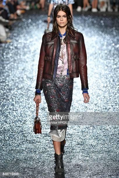 Kaia Gerber walks the runway at Coach Ready to Wear Spring/Summer 2018 fashion show during New York Fashion Week on September 12 2017 in New York City