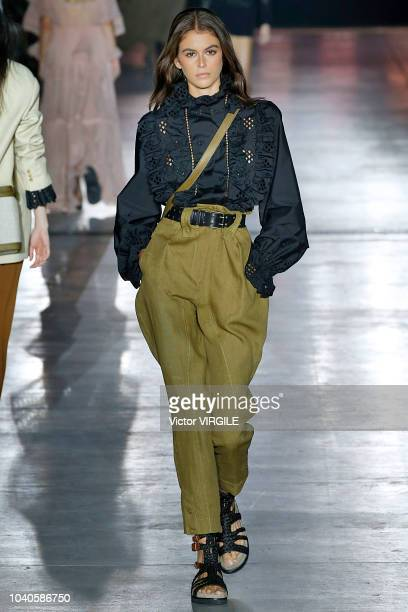 Kaia Gerber walks the runway at the Alberta Ferretti Ready to Wear fashion show during Milan Fashion Week Spring/Summer 2019 on September 19 2018 in...