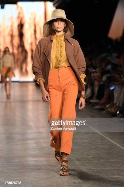 Kaia Gerber walks the runway at the Alberta Ferretti show during the Milan Fashion Week Spring/Summer 2020 on September 18, 2019 in Milan, Italy.