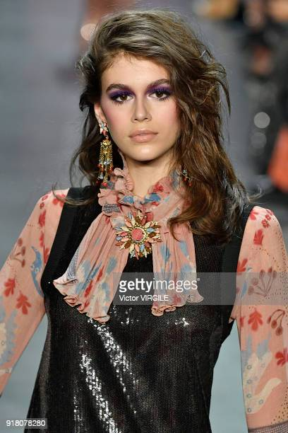 Kaia Gerber walks the runway at the Anna Sui Ready to Wear Fall/Winter 20182019 fashion show during New York Fashion Week on February 12 2018 in New...