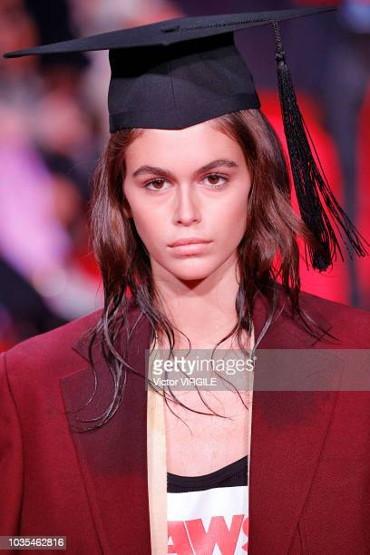 Kaia Gerber walks the runway at the Calvin Klein Collection Ready to Wear Spring/Summer 2019 fashion show during New York Fashion Week on September...