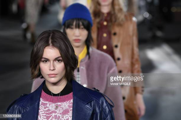 Kaia Gerber walks the runway at the Coach 1941 Ready to Wear Fall/Winter 2020-2021 fashion show during New York Fashion Week on February 11, 2020 in...