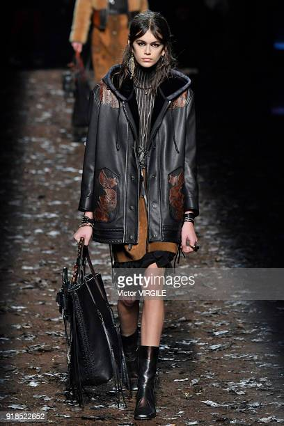 Kaia Gerber walks the runway at the Coach 1941 Ready to Wear Fall/Winter 20182019 Fashion show during New York Fashion Week on February 13 2018 in...
