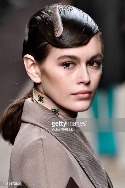 Kaia Gerber walks the runway at the Fendi Ready to Wear Fall/Winter 20192020 fashion show at Milan Fashion Week Autumn/Winter 2019/20 on February 21...