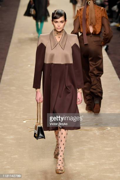 Kaia Gerber walks the runway at the Fendi show at Milan Fashion Week Autumn/Winter 2019/20 on February 21 2019 in Milan Italy