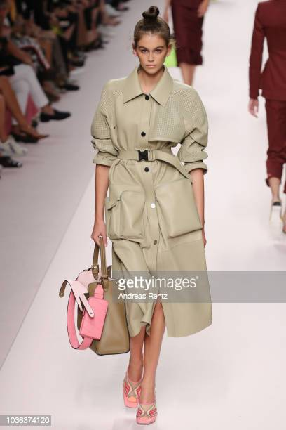 Kaia Gerber walks the runway at the Fendi show during Milan Fashion Week Spring/Summer 2019 on September 20 2018 in Milan Italy