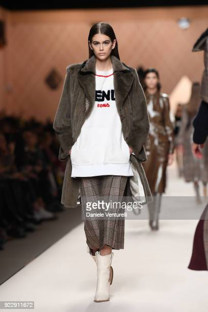 Kaia Gerber walks the runway at the Fendi show during Milan Fashion Week Fall/Winter 2018/19 on February 22 2018 in Milan Italy