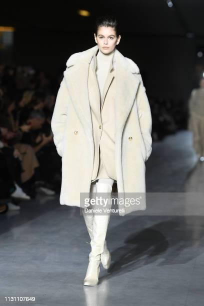 Kaia Gerber walks the runway at the Max Mara show at Milan Fashion Week Autumn/Winter 2019/20 on February 21 2019 in Milan Italy
