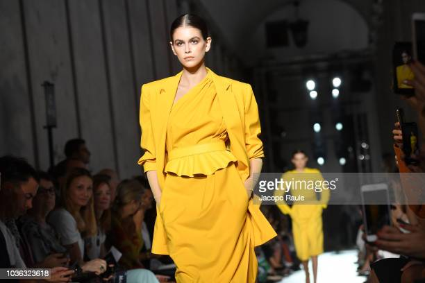 Kaia Gerber walks the runway at the Max Mara show during Milan Fashion Week Spring/Summer 2019 on September 20 2018 in Milan Italy