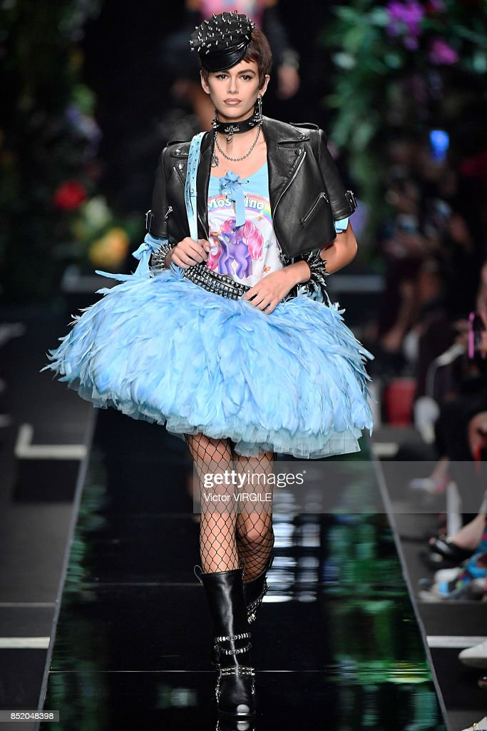 Kaia Gerber walks the runway at the Moschino Ready to Wear Spring/Summer 2018 fashion show during Milan Fashion Week Spring/Summer 2018 on September 21, 2017 in Milan, Italy.