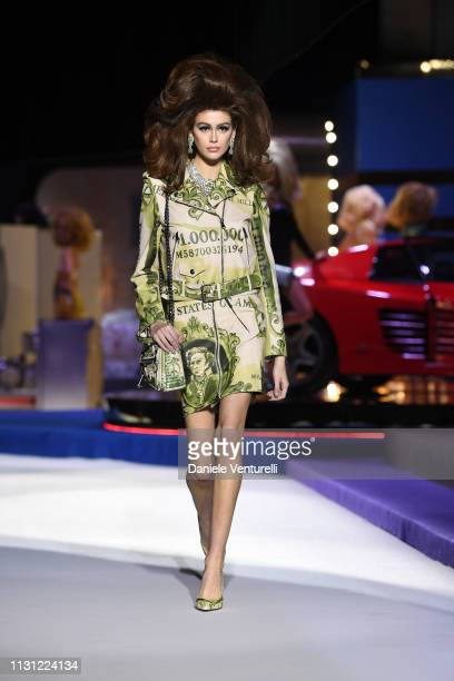 Kaia Gerber walks the runway at the Moschino show at Milan Fashion Week Autumn/Winter 2019/20 on February 21 2019 in Milan Italy