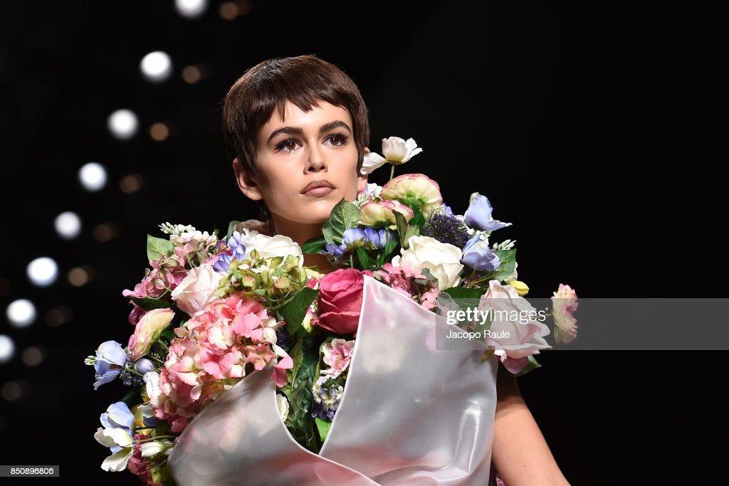 Kaia Gerber walks the runway at the Moschino show during Milan Fashion Week Spring/Summer 2018 on September 21, 2017 in Milan, Italy.