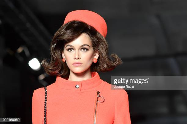 Kaia Gerber walks the runway at the Moschino show during Milan Fashion Week Fall/Winter 2018/19 on February 21 2018 in Milan Italy