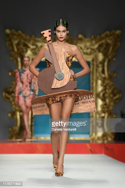 Kaia Gerber walks the runway at the Moschino show during the Milan Fashion Week Spring/Summer 2020 on September 19 2019 in Milan Italy