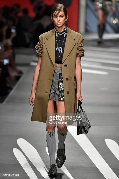 Kaia Gerber walks the runway at the Prada Ready to Wear Spring/Summer 2018 fashion show during Milan Fashion Week Spring/Summer 2018 on September 21...