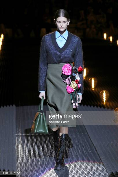Kaia Gerber walks the runway at the Prada show at Milan Fashion Week Autumn/Winter 2019/20 on February 21, 2019 in Milan, Italy.