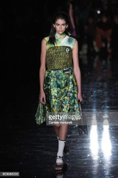 Kaia Gerber walks the runway at the Prada show during Milan Fashion Week Fall/Winter 2018/19 on February 22 2018 in Milan Italy