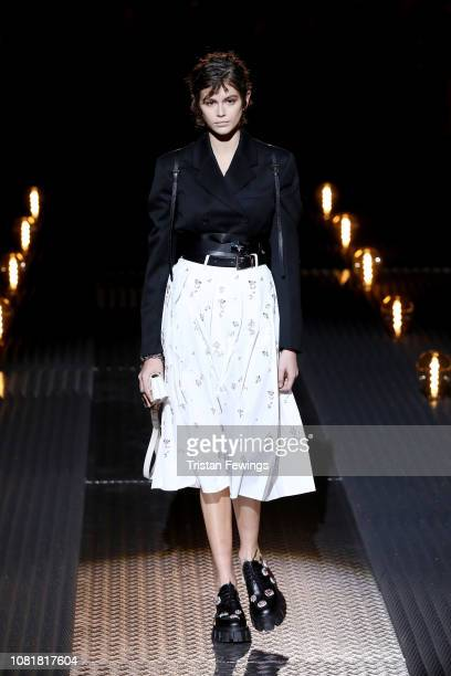Kaia Gerber walks the runway at the Prada show during Milan Menswear Fashion Week Autumn/Winter 2019/20 on January 13 2019 in Milan Italy