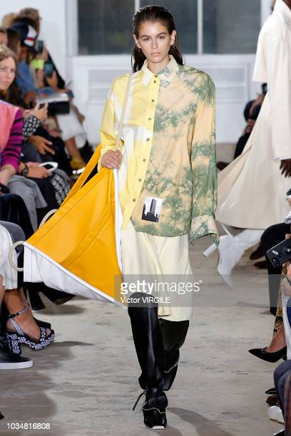 Kaia Gerber walks the runway at the Proenza Schouler Spring/Summer 2019 fashion show during New York Fashion Week on September 10 2018 in New York...