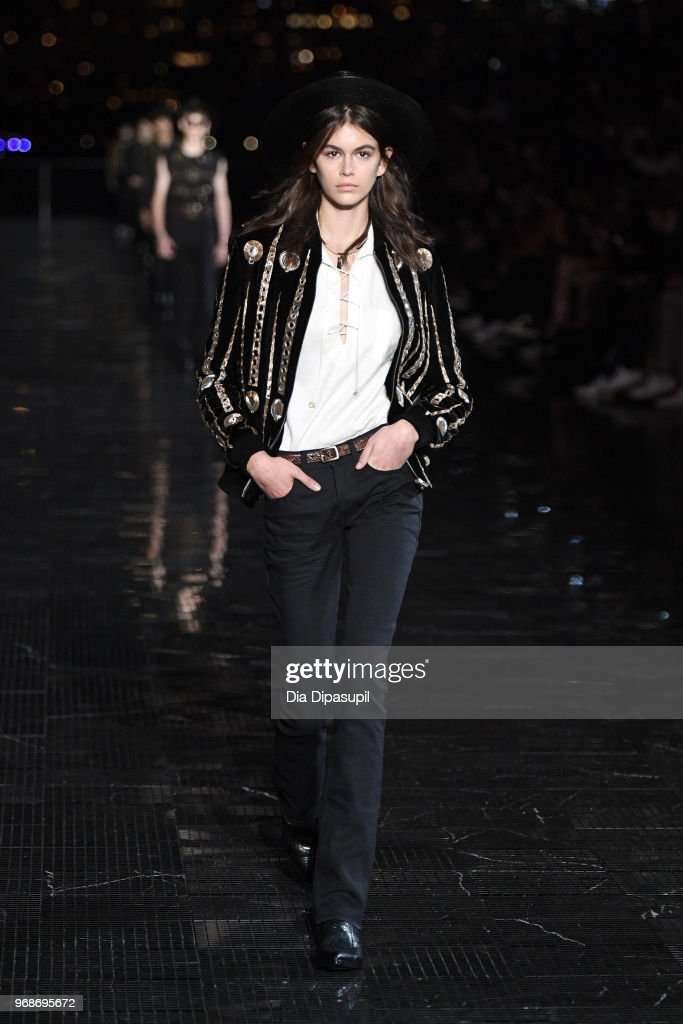 Kaia Gerber walks the runway at the Saint Laurent Resort 2019 Runway Show on June 6, 2018 in New York City.