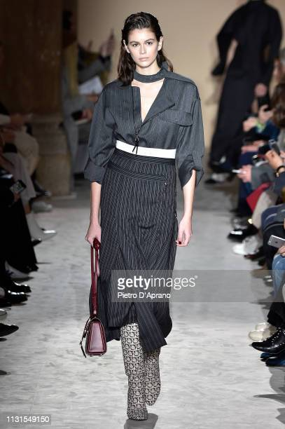 Kaia Gerber walks the runway at the Salvatore Ferragamo show at Milan Fashion Week Autumn/Winter 2019/20 on February 23 2019 in Milan Italy