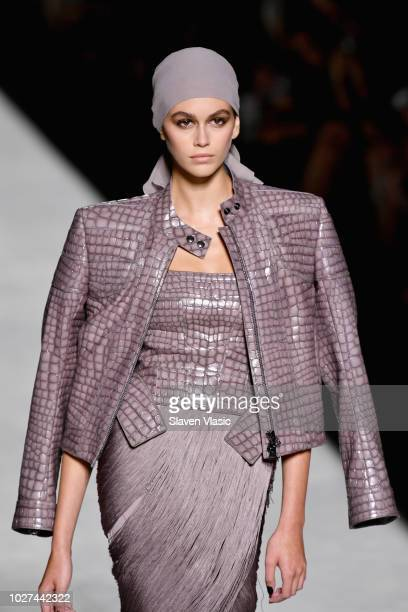 Kaia Gerber walks the runway at the Tom Ford fashion show during New York Fashion Week at Park Avenue Armory on September 5 2018 in New York City