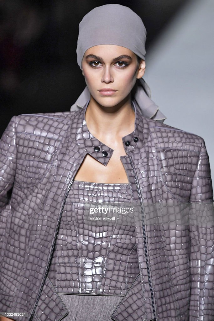 Kaia Gerber walks the runway at the Tom Ford fashion show during New York Fashion Week Spring/Summer 2019 on September 5, 2018 in New York City.