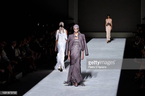 Kaia Gerber walks the runway at the Tom Ford show at Park Avenue Armory on September 5, 2018 in New York City.