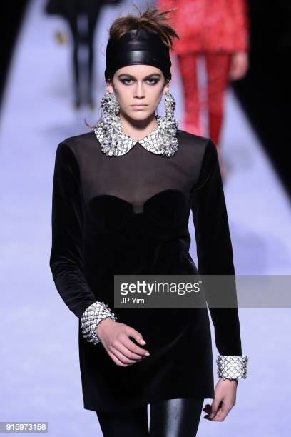 Kaia Gerber walks the runway at the Tom Ford Womenswear FW18 Collection at Park Avenue Armory on February 8 2018 in New York City