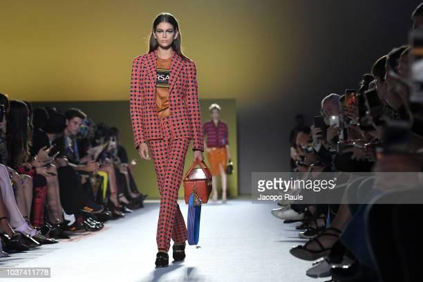 Kaia Gerber walks the runway at the Versace show during Milan Fashion Week Spring/Summer 2019 on September 21 2018 in Milan Italy