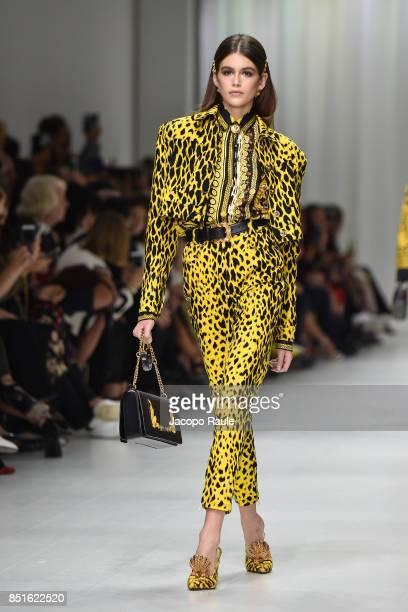 Kaia Gerber walks the runway at the Versace show during Milan Fashion Week Spring/Summer 2018 on September 22 2017 in Milan Italy