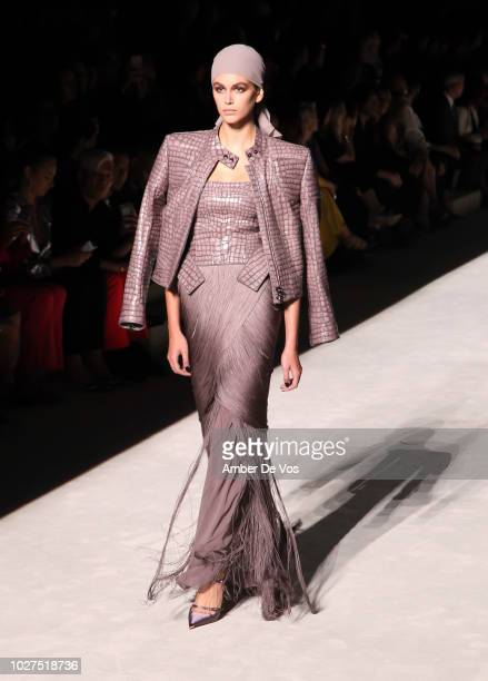 Kaia Gerber walks the runway at Tom Ford SS19 Fashion Show at Park Avenue Armory on September 5, 2018 in New York City.