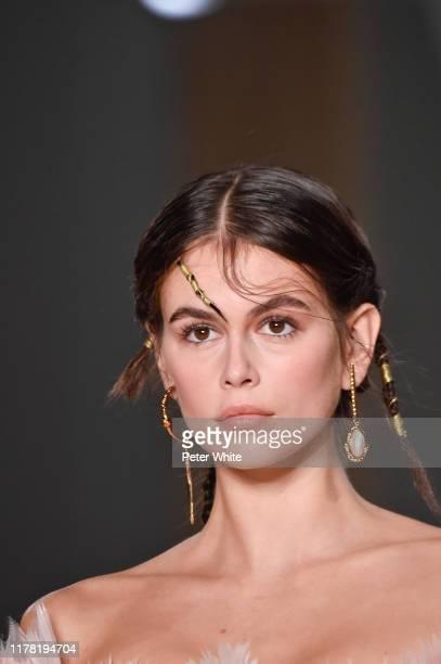 Kaia Gerber walks the runway during the Alexander McQueen Womenswear Spring/Summer 2020 show as part of Paris Fashion Week on September 30, 2019 in...