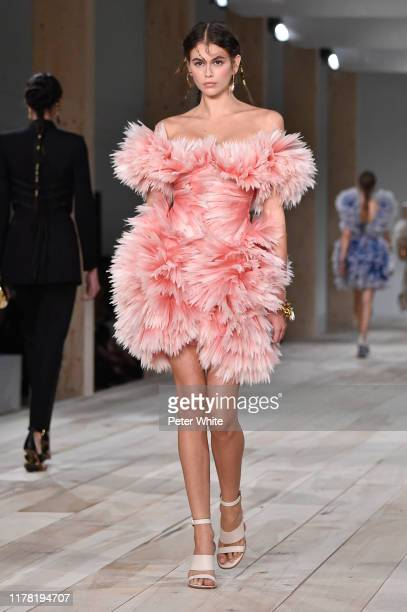 Kaia Gerber walks the runway during the Alexander McQueen Womenswear Spring/Summer 2020 show as part of Paris Fashion Week on September 30, 2019 in...