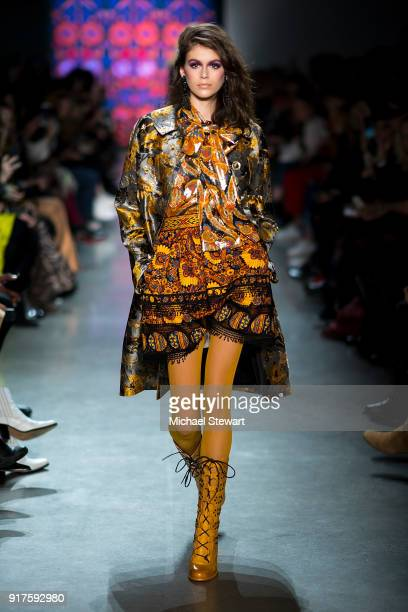 Kaia Gerber walks the runway during the Anna Sui fashion show during New York Fashion Week at Gallery I at Spring Studios on February 12 2018 in New...