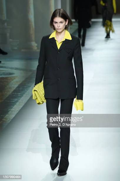 Kaia Gerber walks the runway during the Bottega Veneta fashion show as part of Milan Fashion Week Fall/Winter 2020-2021 on February 22, 2020 in...
