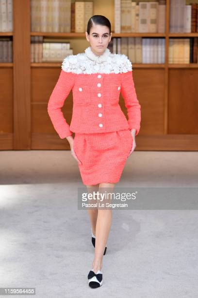 Kaia Gerber walks the runway during the Chanel Haute Couture Fall/Winter 2019 2020 show as part of Paris Fashion Week on July 02, 2019 in Paris,...