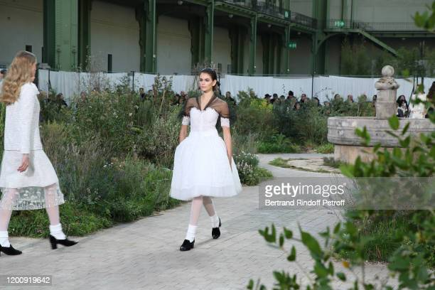 Kaia Gerber walks the runway during the Chanel Haute Couture Spring/Summer 2020 show as part of Paris Fashion Week on January 21, 2020 in Paris,...