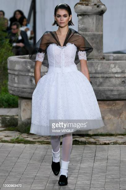 Kaia Gerber walks the runway during the Chanel Haute Couture Spring/Summer 2020 fashion show as part of Paris Fashion Week on January 21, 2020 in...
