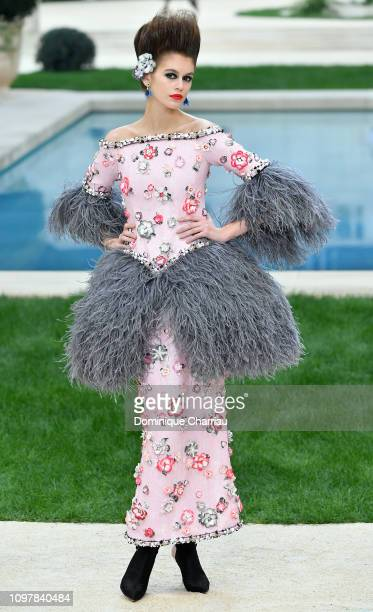Kaia Gerber walks the runway during the Chanel Haute Couture Spring Summer 2019 show as part of Paris Fashion Week on January 22, 2019 in Paris,...