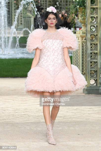 Kaia Gerber walks the runway during the Chanel Haute Couture Spring Summer 2018 show as part of Paris Fashion Week on January 23 2018 in Paris France