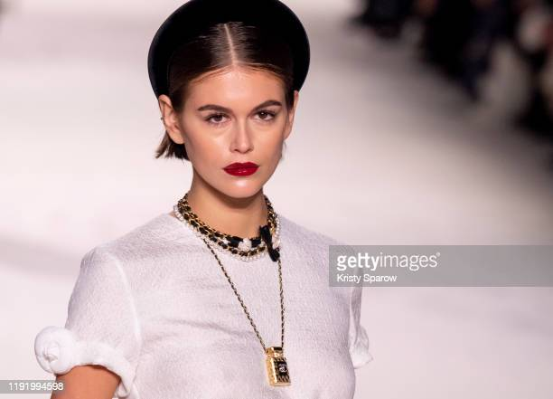 Kaia Gerber walks the runway during the Chanel Metiers d'Art 2019-2020 show at Le Grand Palais on December 04, 2019 in Paris, France.