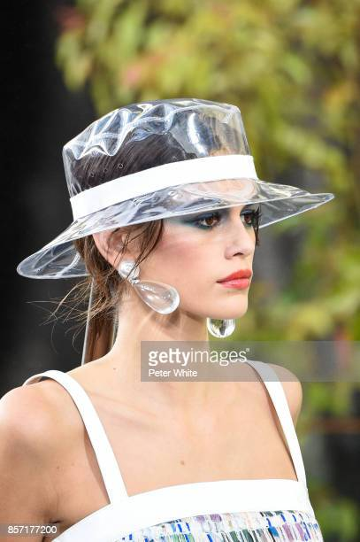 Kaia Gerber walks the runway during the Chanel Paris show as part of the Paris Fashion Week Womenswear Spring/Summer 2018 on October 3 2017 in Paris...
